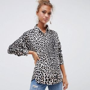 ASOS Influence leopard Print Button down top